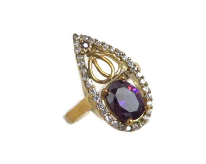Amethyst & CZ Cocktail Ring, Sterling Silver Ring, Vintage Faux Amethyst Ring Size 6