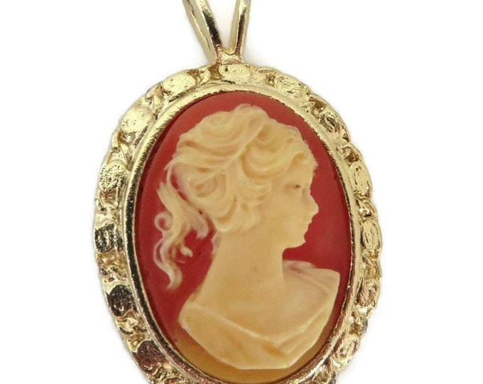 Cameo Pendant Necklace - Vintage Cream & Coral Orange Pendant, Gold Tone Necklace