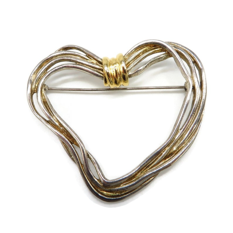 Premier Designs Heart Brooch Vintage Two Tone Abstract Heart Pin