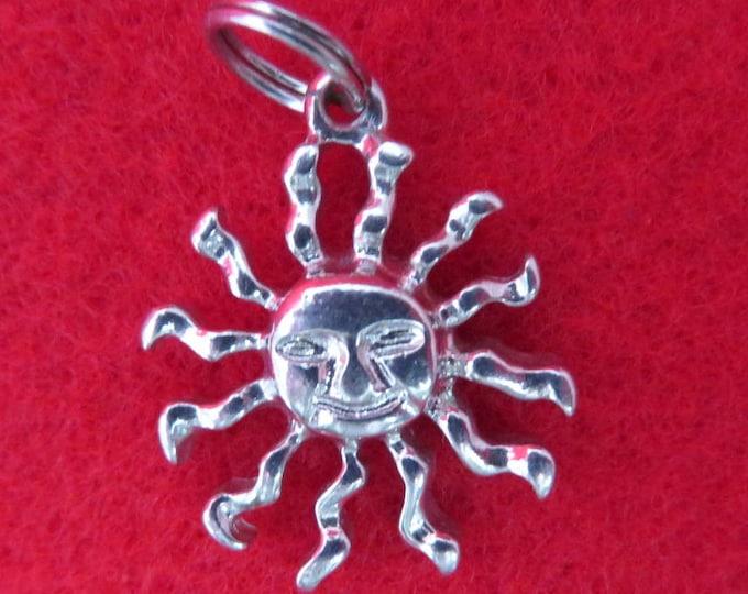 Vintage Sunburst Charm Sterling Silver Sun Pendant Charm Bracelet Gift Idea