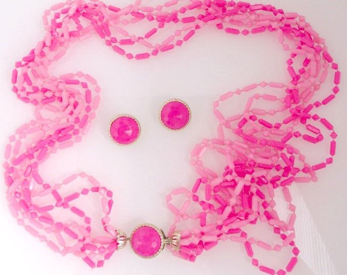 Pink Jewelry Set, Vintage Necklace, Earrings, Mulltistrand Necklace, Pink Beaded Necklace, Button Earrings, Clip on Earrings