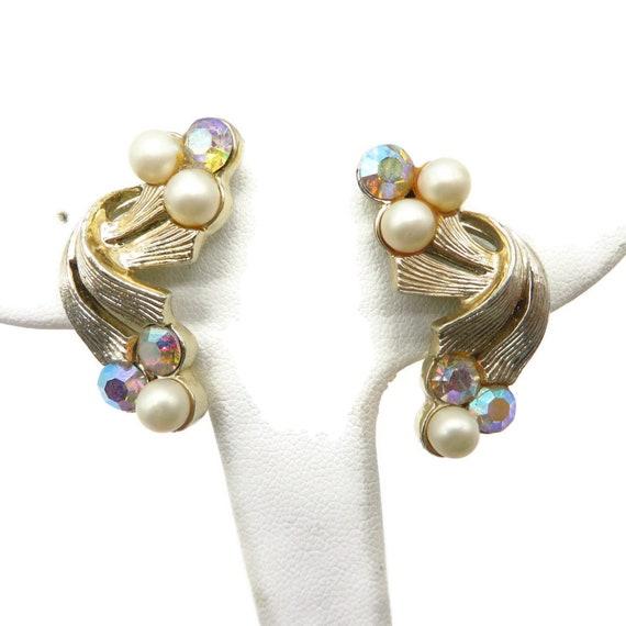 Coro Pearl and Rhinestone Earrings, Pale Gold Ton… - image 2