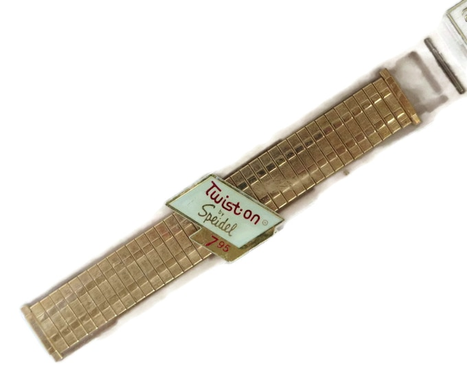 Speidel Watch Band, Vintage Twist On Band, New Old Stock, Gold Tone Metal Men's Watch Band, Gift Idea