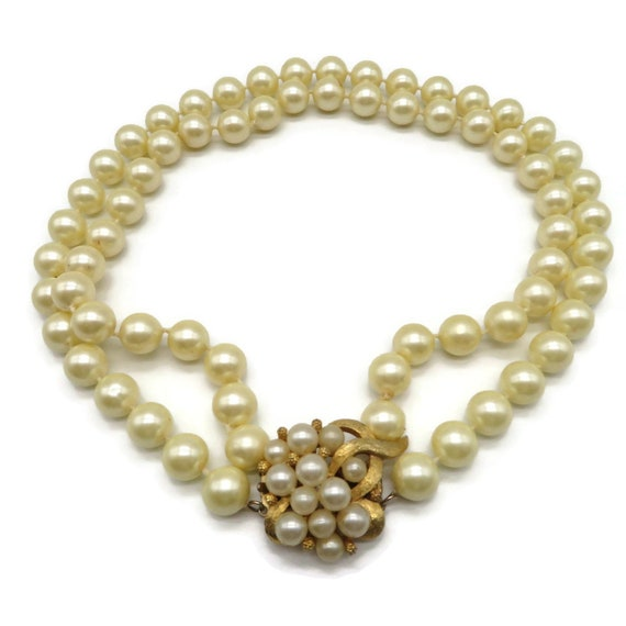 Marvella Faux Pearl Necklace - Vintage Double Str… - image 2