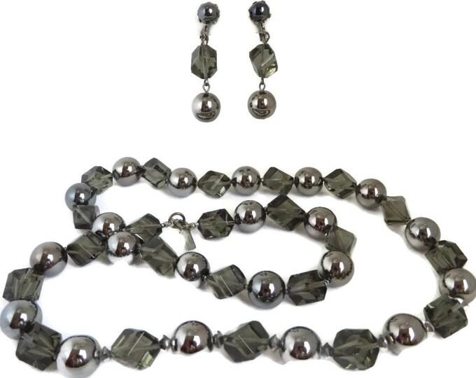 Hattie Carnegie Necklace, Earrings, Vintage Jewelry Set, Crystal Necklace, Earrings, Boho Jewelry, Dangle Drop Earrings, Smoky Glass Jewelry