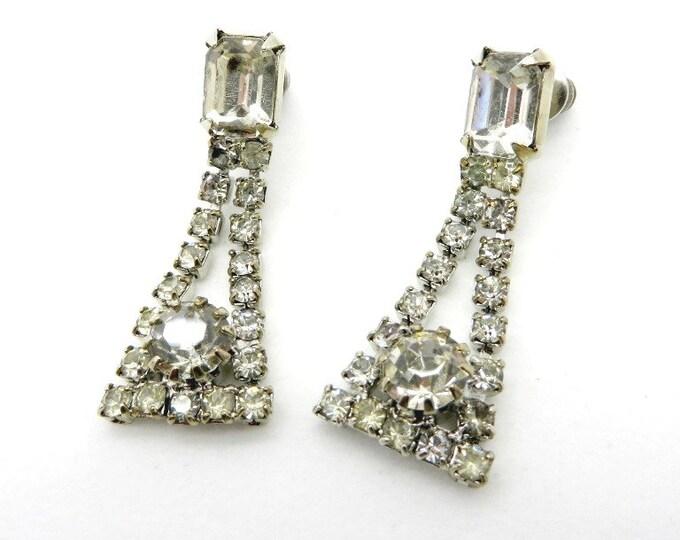 Dangling Rhinestone Bridal Earrings, Vintage Pierced Silver Tone Earrings, Chandelier Studs, Gift for Her