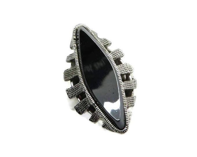Whiting & Davis Hematite Ring, Vintage Black Glass Ring, Size 6