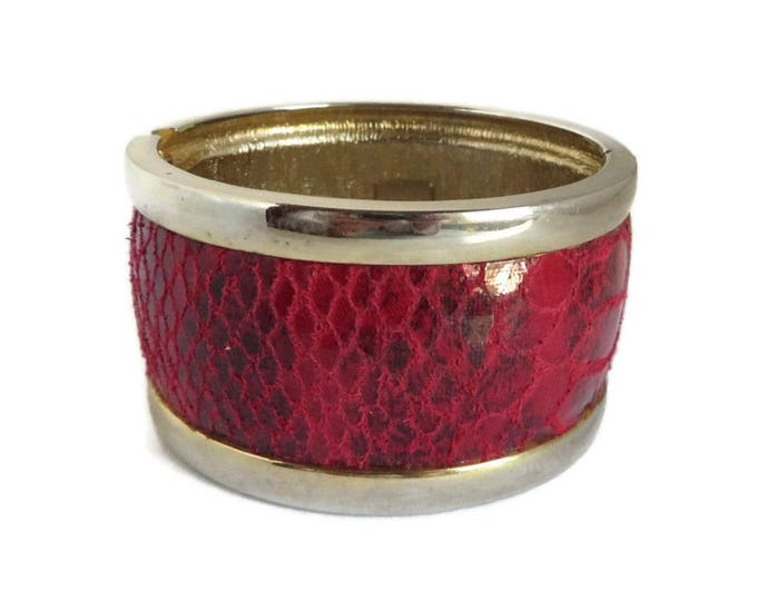 Red & Gold Bracelet, Vintage Clamper Bracelet, Faux Snakeskin Chunky Bracelet