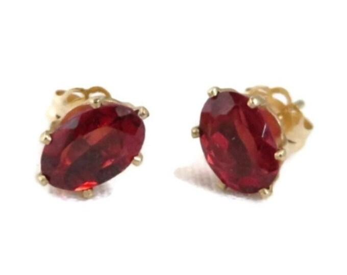 Garnet Stud Earrings - 14K Yellow Gold Pierced Earrings, 0.86ctw