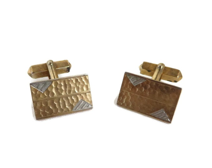 Vintage Swank Cufflinks, Hammered, Two Tone Rectangle Cuff Links, 1960s Men's Accessories