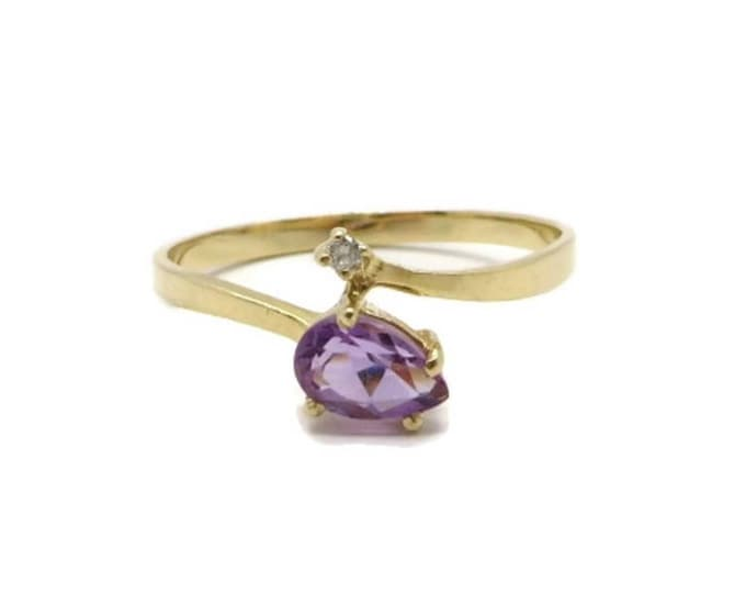 Amethyst & Diamond Ring, 14K Yellow Gold Ring, Pear Shaped Amethyst, 0.25ctw, Vintage Women's Ring Size 6