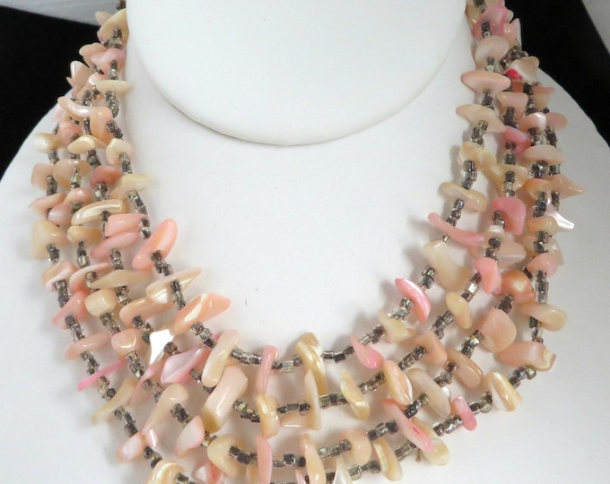 Pink Shell Necklace - Vintage MOP Multi-Strand Japan Jewelry