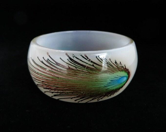 White Lucite Bracelet - Vintage Lucite Bangle,  Peacock Feather Bracelet, Chunky Bangle