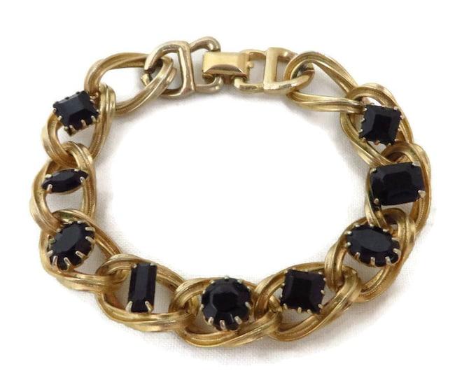 Black Rhinestone Bracelet - Vintage Gold Tone Chain Link Bracelet, Gift for Her
