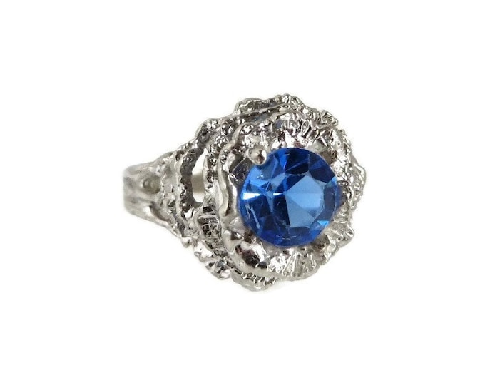 Vintage Faux Topaz Cocktail Ring, 14K White Gold Plated Dinner Ring, Size 6
