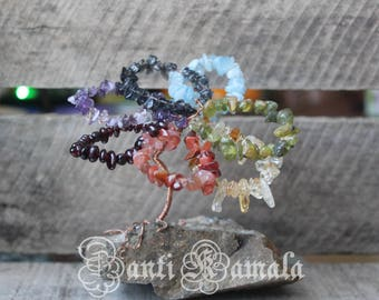 Chakra flower tree of life on Yukon stone with flecks of real gold and silver/natural stone/local/tree of life/ gift for her/gift for him