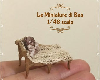 1/48 victorian antiche long chaise and bear dollshouse miniatures 1/4 vintage wood hand made by Bea