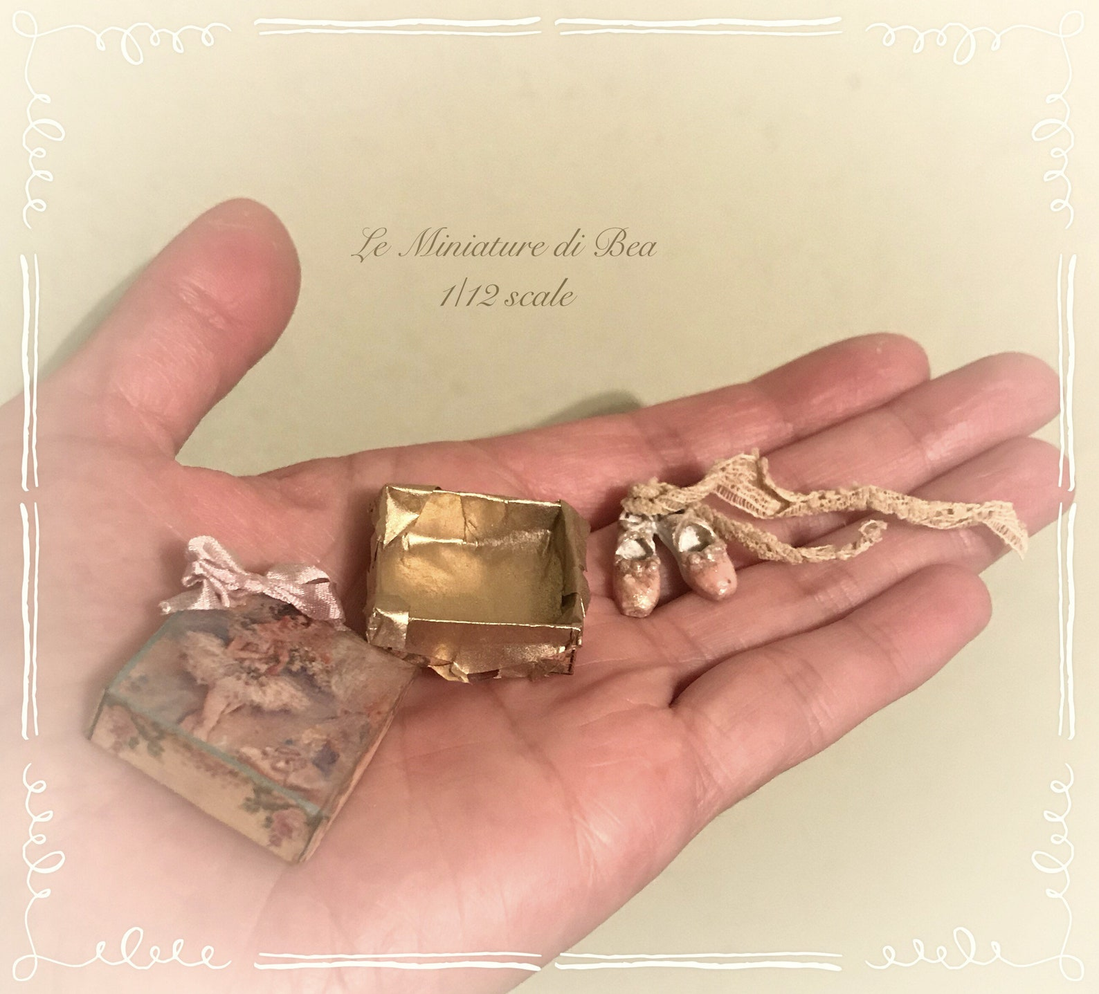 1/12 victorian box with ballet shoes, dollshouse miniature hand made by bea antiche french style.