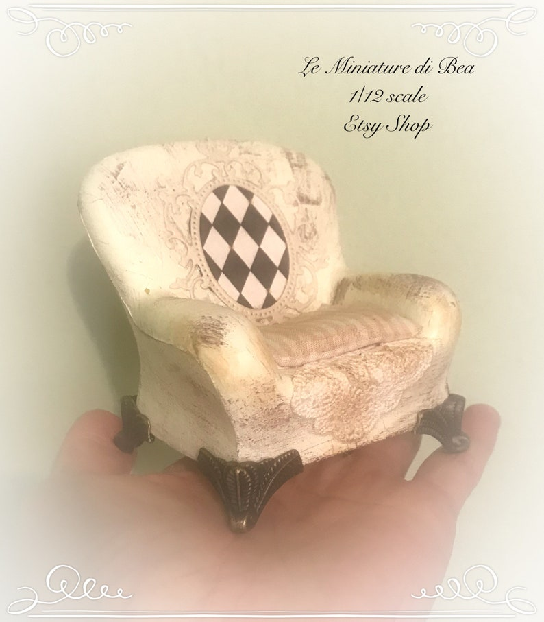 hand painted and decorard by Bea victorian style dollshouse miniatures. 112 OOAK double bed with base and armchair