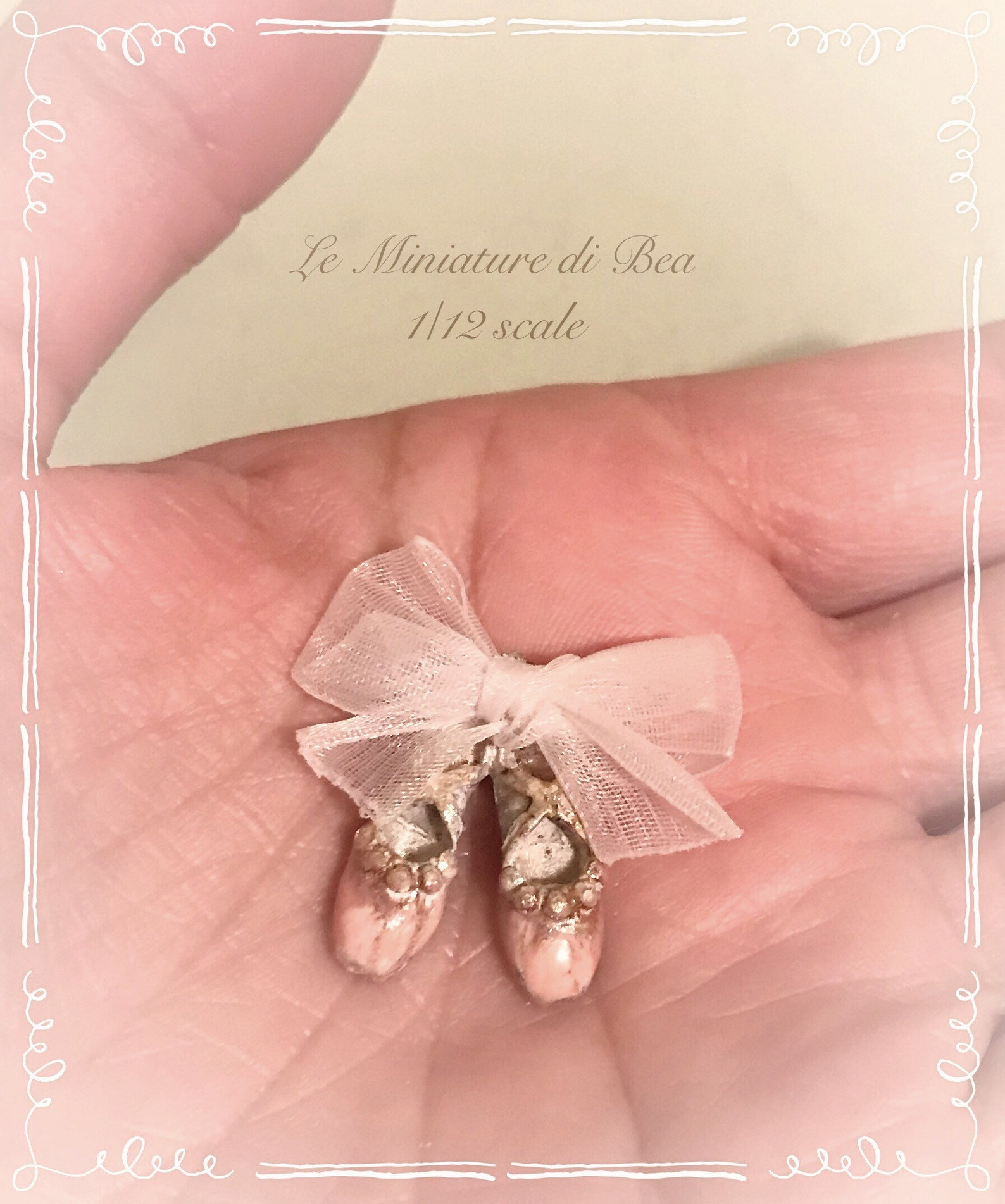 1/12 victorian ballet shoes dollshouse miniature hand made by bea antiche french style