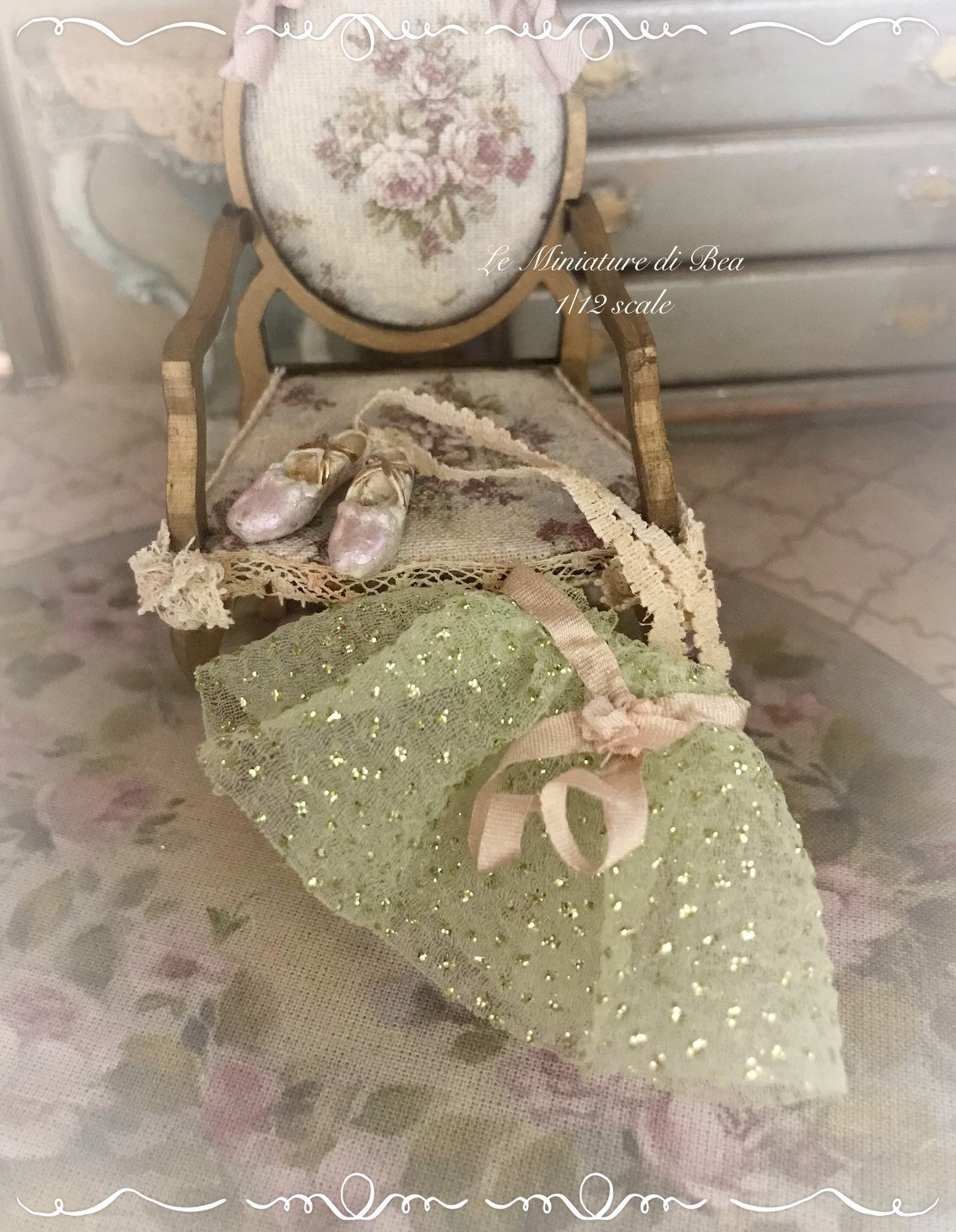 1/12 victorian ballet shoes and tutu dollshouse miniature hand made by bea antiche french style