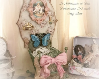 1/12 OOAK baby girl cradle with base hand painted and decorard by Bea victorian style dollshouse miniatures.