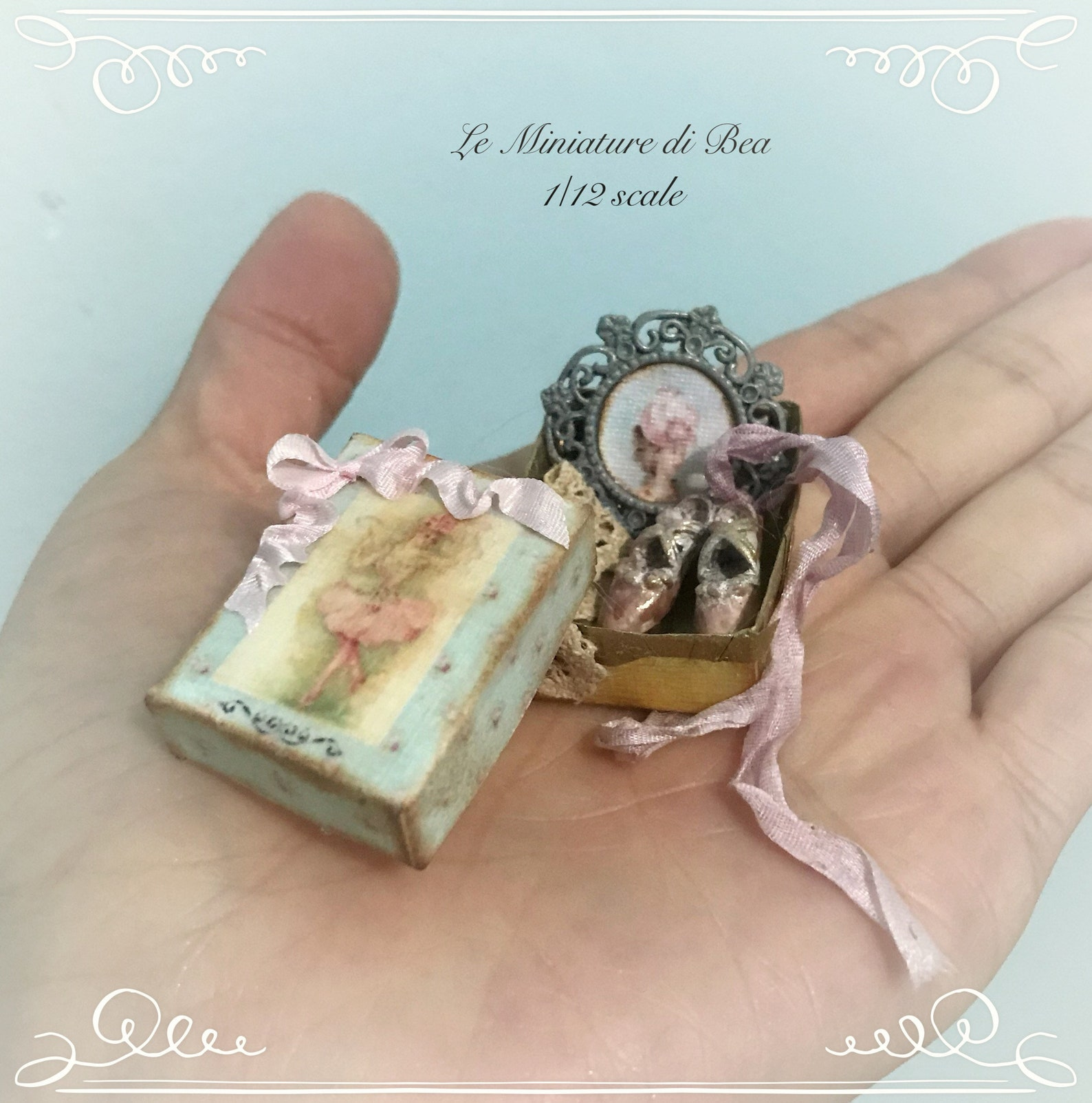1/12 victorian box with ballet shoes and lady picture dollshouse miniature hand made by bea antiche french style.