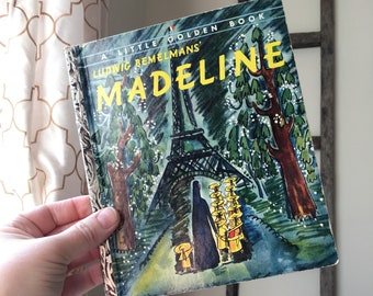 "Ludwig Behelman's Madeline Little Golden Book ""A"" Edition #186 25 Paris, Disney/Warner Brothers, Illustrations, Catholic School, Girl's Room"