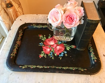 Gorgeous Tole Tray, Serving Tray, Red Flowers, Black Background Floral Tray, Decorative Tray, Gallery Wall, Toleware, Hostess Gift,