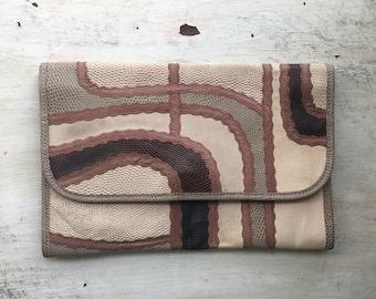 Rare Carlos Falchi Leather Clutch, Shades of Brown, Vintage Purse, Multiskin, Exotic Skins, Snake Skin, Calf Sin, Boho Style, Designer Bag,