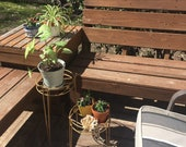Vintage Nesting Plant Stands, Set of Two, Wire Stands for Plants, Metal Plant Stands, Gold Metal Tables, Garden Tables, Potted Plant Holder