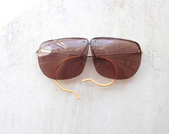 fe20e737ba9ef Vintage High Shooter Sunglasses, Ray Ban, Vintage Aviator Sunglasses,  1970 s Classic Eye Frames, Hipster Eyewear, Pearl Brow, WTH-1638