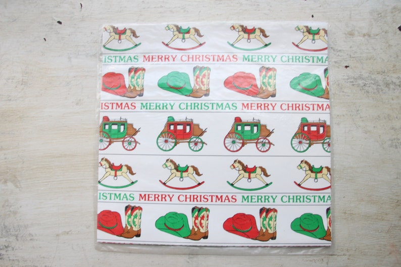 New in Package Gift Wrap Merry Christmas Wrapping Paper Bill Leonard Cowboy Christmas Country Chic WTH-1321 1980/'s 1322