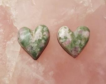 Pink & Green Nevada Lapis Heart Cabochon Pair/ backed