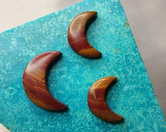 Red Blood Onyx Crescent Moon Cabochons/ backed/ set of 3