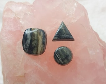 Picasso Marble Square, Circle & Triangle Cabochon Set/ backed
