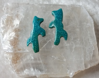 Blue Green Turquoise Rearing Horse/ Mustang Small Cabochon Pair/ backed/ Sonora Mexico