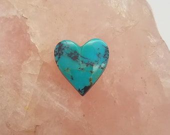 Blue Bisbee Turquoise Medium Small Heart Cabochon/ backed/ 15mm
