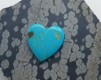 Blue Turquoise Mountain Large Heart Cabochon/ backed