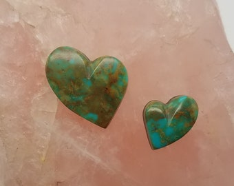 Green Hachita Turquoise Tear Heart Cabochons Medium & Small/ Backed