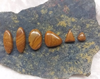 Woody Brown Onyx Cabochons/ backed  Set of 6 freeform ovals & triangle