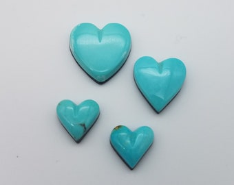 Light Blue Turquoise Mountain Hearts, Extra Small - Medium Small Cabochons / Backed