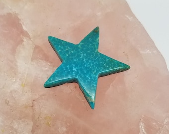 Green Sonora Turquoise Large Star Cabochon/ backed