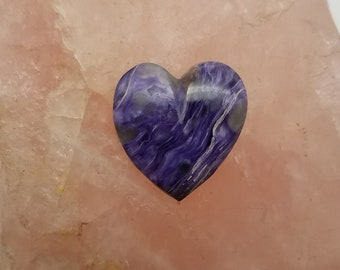 Purple Charoite Medium Heart Cabochon/ backed