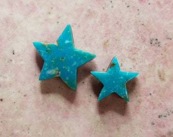 Blue Sonora Turquoise Star Medium & Small Cabochon Set/ backed