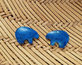 Dark Blue Lapis Lazuli Small Bear Cabochon Pair/ backed