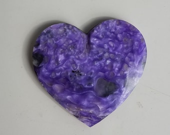 Purple Charoite Large Heart Cabochon/ backed