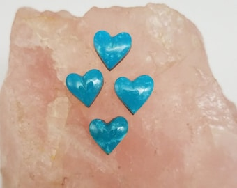 Blue Sonora Turquoise Tiny Heart Cabochons/ set of 4/ backed