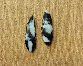 Black & White Zebra Marble Feather Small Cabochon Pair / backed