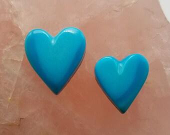 Blue Gem Turquoise Medium Small Cabochon Hearts / Backed